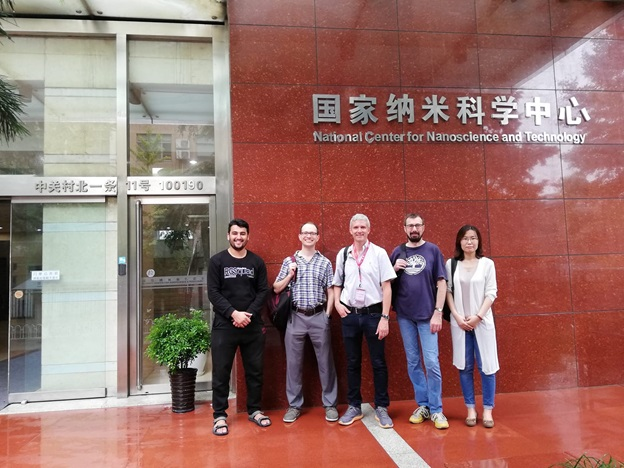 From left to right, Muhammad Ovais, Prof. Daniel Heller, Prof.Laurent cognet, Prof. Alberto Bianco, Prof. Xuejing. National Center for Nanoscience and Technology, Beijing, China, 2018